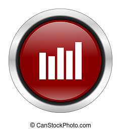 graph icon, red round button isolated on white background, web design illustration
