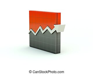 Graph icon. Red series