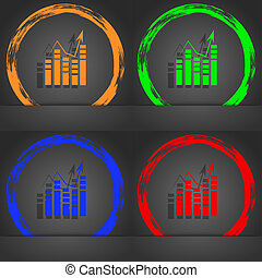Graph icon sign. Fashionable modern style. In the orange, green, blue, red design.