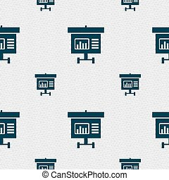 Graph icon sign. Seamless pattern with geometric texture. Vector