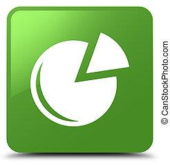 Graph icon soft green square button