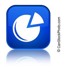 Graph icon special blue square button