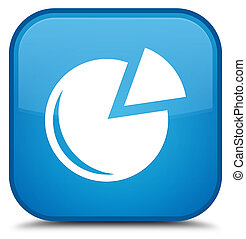 Graph icon special cyan blue square button