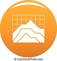 Graph icon vector orange