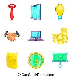 Graph icons set, cartoon style