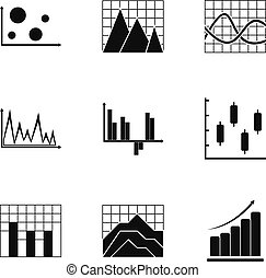 Graph icons set, simple style