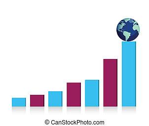 graph illustration with globe