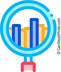 Graph In Magnifier Glass Agile Element Vector Icon Thin...