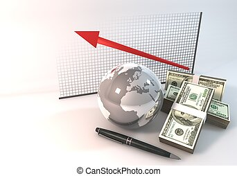 Graph Investment Concept 3d rendering 100 dollar money World on white background