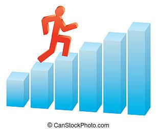 graph, løb, oppe, folk branche