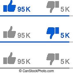 Graph like rating. Thumb up and thumb down