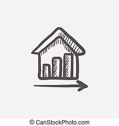 Graph of financial real estate growth sketch icon