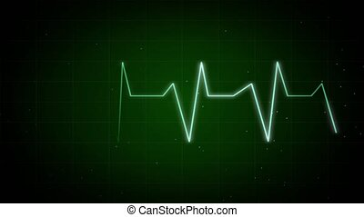 Graph of Heart Rhythm Heartbeat monitor EKG line monitor Loop Background 4K.