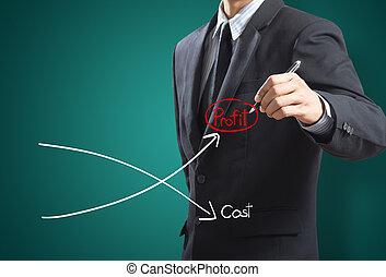 Graph of profit compare with cost - Business man drawing...