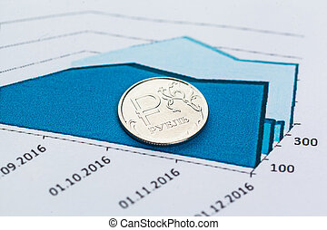 Graph Of Stock Market With Stacks Of Coins