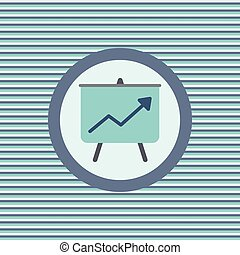 Graph of success on the board color flat icon