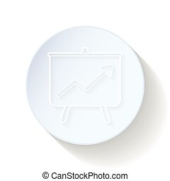 Graph of success on the board thin lines icon