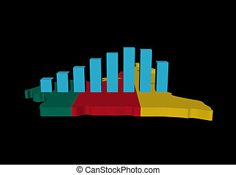 graph on Cameroon map flag illustration