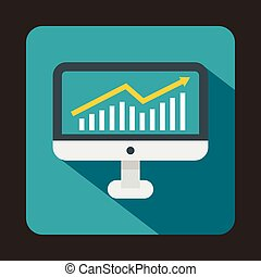 Graph on computer screen icon, flat style