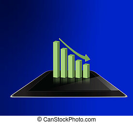 Graph on tablet computer background