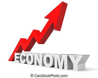 graph, oppe, økonomi, arrow.