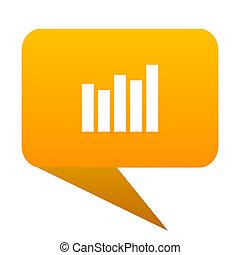 Graph orange bulb web icon isolated.