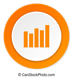 graph orange circle 3d modern design flat icon on white background