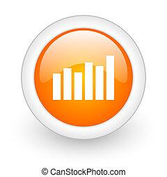 graph orange glossy web icon on white background