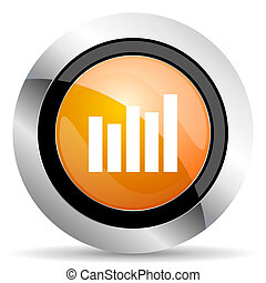 graph orange icon bar graph sign