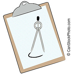 graph paper and compass on clipboard
