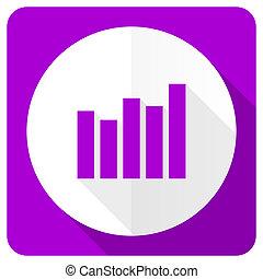 graph pink flat icon bar graph sign