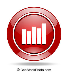 graph red web glossy round icon