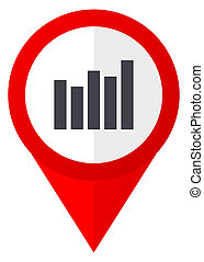 Graph red web pointer icon. Webdesign button on white background.