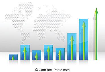 graph, rejsning, kort, pile