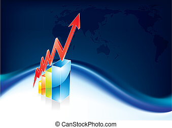 Graph rising - World business blue background with graph...