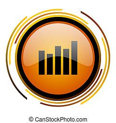 graph round design orange glossy web icon
