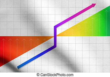 Graph showing business progress on grid background