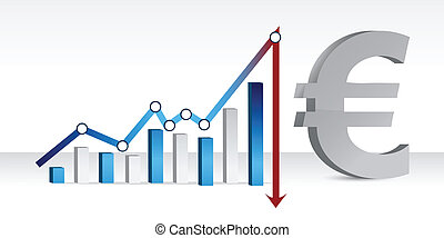 Graph showing the falling euro