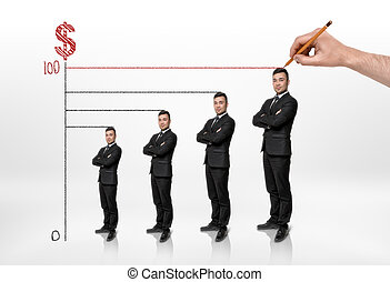 Graph shows the growth of a businessman and his income.