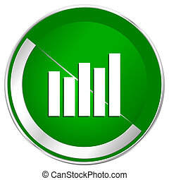 Graph silver metallic border green web icon for mobile apps and internet.