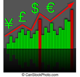Graph the growth of financial income. Vector.