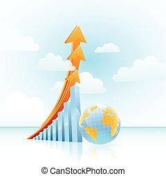 graph, tilvækst, globale, vektor, bar