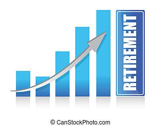 graph to retirement illustration design over white