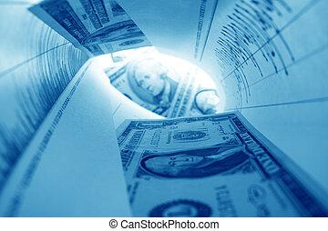 graph tube - financial graph tube look at money coins
