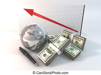 Graph Up Business Concept 3d rendering 100 dollar money with World