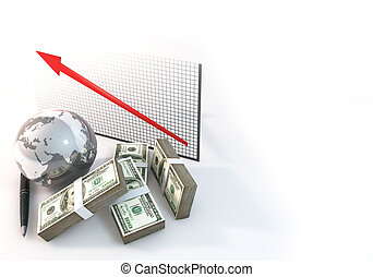 Graph Up Business Concept 3d rendering 100 dollar money with World on white background
