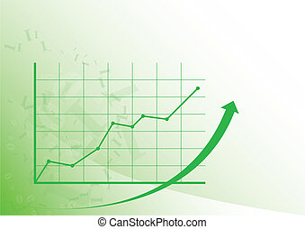 Graph up - Green graph is growing up on the white...