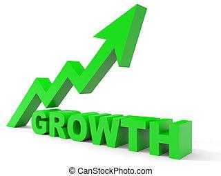 Graph up growth arrow. 3D illustration.