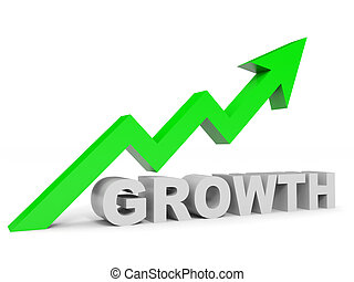Graph up growth arrow. 3D illustration.