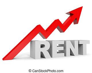 Graph up rent arrow. 3D illustration.